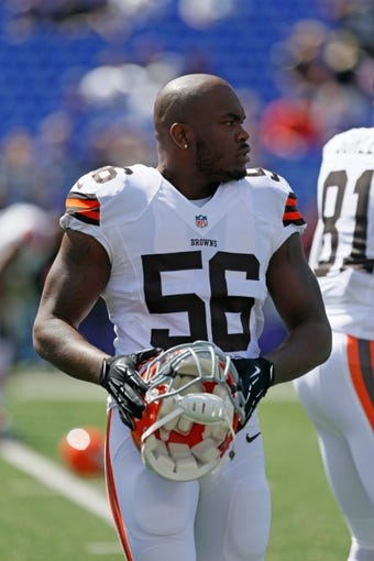 Sep 15, 2013; Baltimore, MD, USA; Cleveland Browns linebacker Eric Martin (56) during the game against the Baltimore Ravens defense at M&T Bank Stadium. Mandatory Credit: Mitch Stringer-USA TODAY Sports