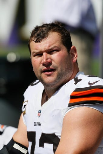 Sep 15, 2013; Baltimore, MD, USA; Cleveland Browns tackle Joe Thomas (73) prior to the game against the Baltimore Ravens at M&T Bank Stadium. Mandatory Credit: Mitch Stringer-USA TODAY Sports