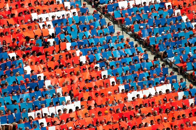 Sep 7, 2013; Champaign, IL, USA; Illinois Fighting Illini student section Block I during halftime of the game against the Cincinnati Bearcats at Memorial Stadium. Mandatory Credit: Bradley Leeb-USA TODAY Sports