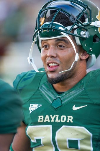 Sep 21, 2013; Waco, TX, USA; Baylor Bears running back Devin Chafin (28) during the game against the Louisiana Monroe Warhawks at Floyd Casey Stadium. The Bears defeated the Warhawks 70-7. Mandatory Credit: Jerome Miron-USA TODAY Sports