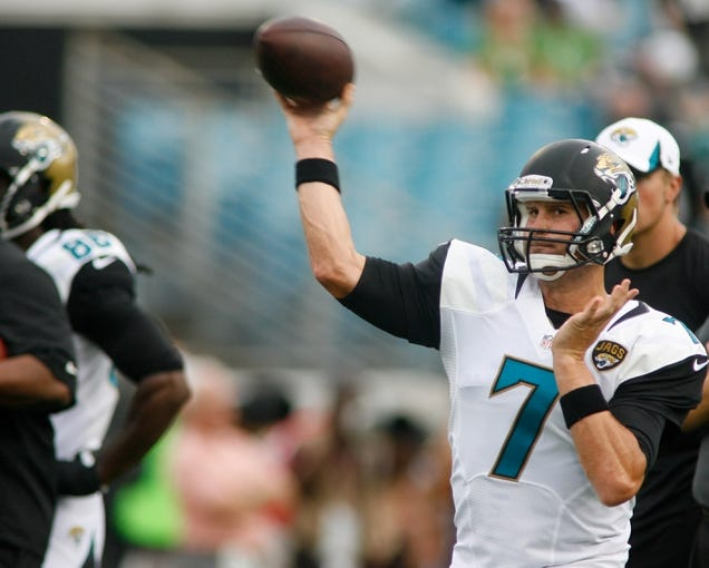 Aug 24, 2013; Jacksonville, FL, USA; Jacksonville Jaguars quarterback Chad Henne (7) warms up prior to the start of their game against the Philadelphia Eagles at EverBank Field. The Philadelphia Eagles beat the Jacksonville Jaguars 31-24. Mandatory Credit: Phil Sears-USA TODAY Sports