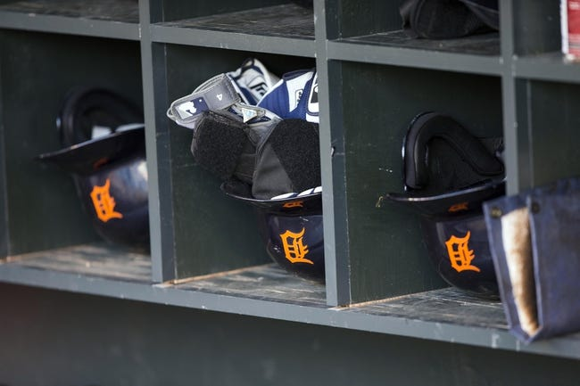 Sep 24, 2013; Minneapolis, MN, USA; A general view of Detroit Tigers batting helmets in the dugout before a game against the Minnesota Twins at Target Field. Mandatory Credit: Jesse Johnson-USA TODAY Sports