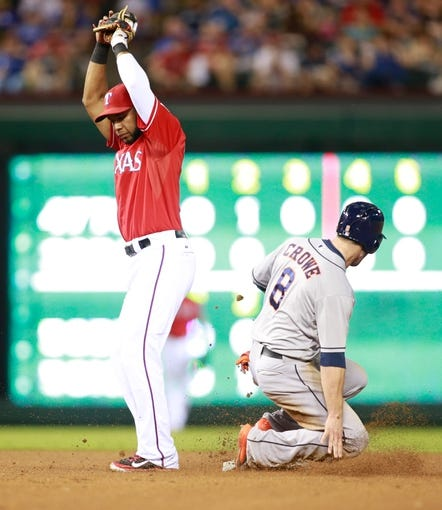 Sep 24, 2013; Arlington, TX, USA; Houston Astros right fielder Trevor Crowe (8) steals second base against Texas Rangers shortstop Elvis Andrus (1) in the fourth inning of the game at Rangers Ballpark in Arlington. Mandatory Credit: Tim Heitman-USA TODAY Sports