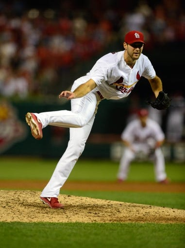 Sep 24, 2013; St. Louis, MO, USA; St. Louis Cardinals starting pitcher Michael Wacha (52) throws to a Washington Nationals batter during the ninth inning at Busch Stadium. Wacha threw 8.2 innings allowing one hit and striking out nine as St. Louis defeated Washington 2-0. Mandatory Credit: Jeff Curry-USA TODAY Sports