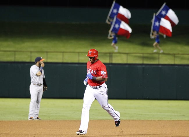 Sep 24, 2013; Arlington, TX, USA; Texas Rangers third baseman Adrian Beltre (29) rounds second base after hitting a home run in the sixth inning against the Houston Astros at Rangers Ballpark in Arlington. The Texas Rangers beat the Houston Astros 3-2. Mandatory Credit: Tim Heitman-USA TODAY Sports