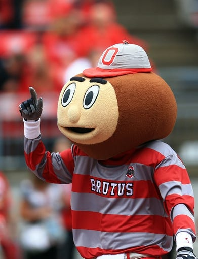 Sep 21, 2013; Columbus, OH, USA; Ohio State Buckeyes mascot Brutus during the second quarter against the Florida A&M Rattlers at Ohio Stadium. Mandatory Credit: Andrew Weber-USA TODAY Sports