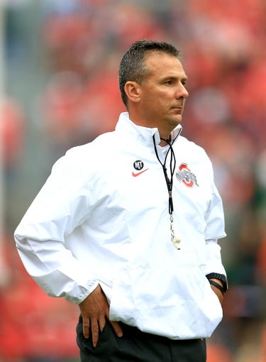 Sep 21, 2013; Columbus, OH, USA; Ohio State Buckeyes head coach Urban Meyer against Florida A&M Rattlers at Ohio Stadium. Mandatory Credit: Andrew Weber-USA TODAY Sports