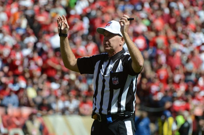 September 22, 2013; San Francisco, CA, USA; NFL referee Terry McAulay (77) signals during the second quarter between the San Francisco 49ers and the Indianapolis Colts at Candlestick Park. The Colts defeated the 49ers 27-7. Mandatory Credit: Kyle Terada-USA TODAY Sports