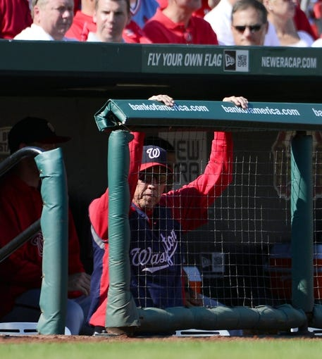 Sep 25, 2013; St. Louis, MO, USA; Washington Nationals manager Davey Johnson (5) watches the action against the St. Louis Cardinals at Busch Stadium. The Cardinals defeated the Nationals 4-1. Johnson is retiring at the end of the season.Mandatory Credit: Scott Rovak-USA TODAY Sports