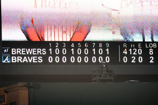 Sep 25, 2013; Atlanta, GA, USA; A general view of the scoreboard after the Milwaukee Brewers defeated the Atlanta Braves at Turner Field. The Brewers defeated the Braves 4-0. Mandatory Credit: Dale Zanine-USA TODAY Sports