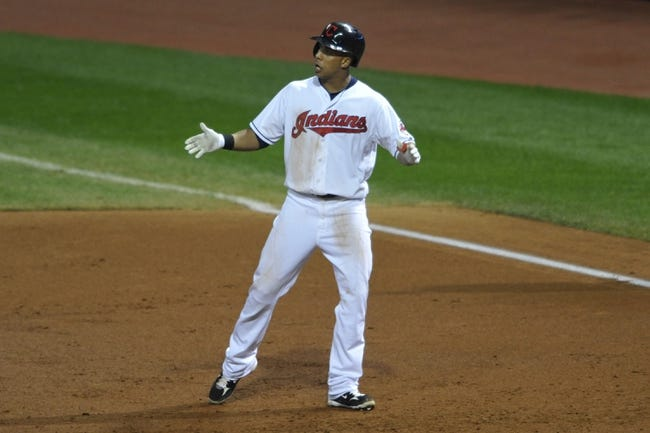 Sep 25, 2013; Cleveland, OH, USA; Cleveland Indians left fielder Michael Brantley celebrates an RBI single in the second inning against the Chicago White Sox at Progressive Field. Mandatory Credit: David Richard-USA TODAY Sports