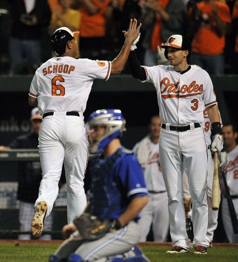 Sep 25, 2013; Baltimore, MD, USA; Baltimore Orioles second baseman Jonathan Schoop (6) is congratulated by Ryan Flaherty (3) after hitting his first career major league home run in the sixth inning against the Toronto Blue Jays at Oriole Park at Camden Yards. The Orioles defeated the Blue Jays 9-5. Mandatory Credit: Joy R. Absalon-USA TODAY Sports