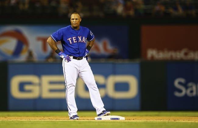 Sep 25, 2013; Arlington, TX, USA; Texas Rangers third baseman Adrian Beltre (29) reacts at second base during the game against the Houston Astros at Rangers Ballpark in Arlington. Mandatory Credit: Kevin Jairaj-USA TODAY Sports