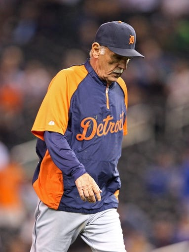 Sep 25, 2013; Minneapolis, MN, USA; Detroit Tigers manager Jim Leyland walks off the field in the eighth inning after making a pitching change against the Minnesota Twins at Target Field. The Tigers won 1-0. Mandatory Credit: Jesse Johnson-USA TODAY Sports
