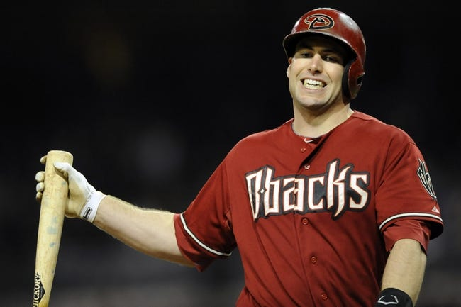 Sep 25, 2013; San Diego, CA, USA; Arizona Diamondbacks first baseman Paul Goldschmidt (44) reacts after striking out to end the eighth inning against the San Diego Padres at Petco Park. Mandatory Credit: Christopher Hanewinckel-USA TODAY Sports