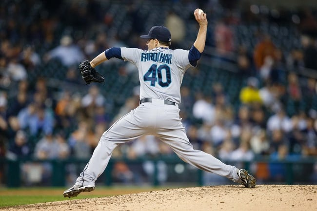 Sep 18, 2013; Detroit, MI, USA; Seattle Mariners relief pitcher Danny Farquhar (40) pitches against the Detroit Tigers at Comerica Park. Mandatory Credit: Rick Osentoski-USA TODAY Sports