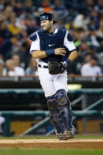 Sep 18, 2013; Detroit, MI, USA; Detroit Tigers catcher Alex Avila (13) during the game against the Seattle Mariners at Comerica Park. Mandatory Credit: Rick Osentoski-USA TODAY Sports