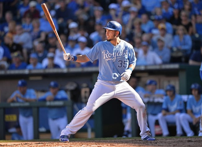 Sep 22, 2013; Kansas City, MO, USA; Kansas City Royals first basemen Eric Hosmer (35) at bat against the Texas Rangers during the 10th inning at Kauffman Stadium. Mandatory Credit: Peter G. Aiken-USA TODAY Sports
