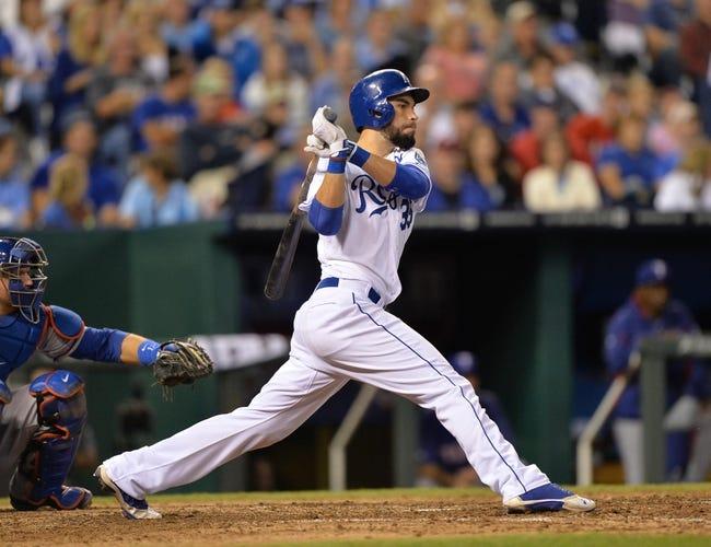 Sep 21, 2013; Kansas City, MO, USA; Kansas City Royals first basemen Eric Hosmer (35) at bat against the Texas Rangers during the sixth inning at Kauffman Stadium. Mandatory Credit: Peter G. Aiken-USA TODAY Sports