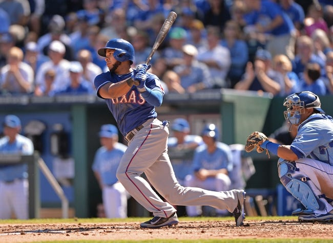 Sep 22, 2013; Kansas City, MO, USA; Texas Rangers shortstop Elvis Andrus (1) at bat against the Kansas City Royals during the third inning at Kauffman Stadium. Mandatory Credit: Peter G. Aiken-USA TODAY Sports