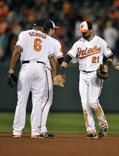 Sep 26, 2013; Baltimore, MD, USA; Baltimore Orioles teammates Jonathan Schoop (6) and Nick Markakis (21) celebrate after a game against the Toronto Blue Jays at Oriole Park at Camden Yards. The Orioles defeated the Blue Jays 3-2. Mandatory Credit: Joy R. Absalon-USA TODAY Sports