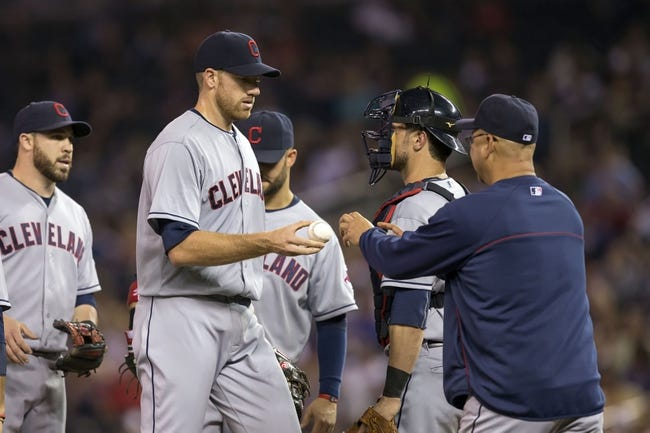 Sep 26, 2013; Minneapolis, MN, USA; Cleveland Indians starting pitcher Zach McAllister (34) gets pulled in the fifth inning from Cleveland Indians manager Terry Francona against the Minnesota Twins at Target Field. Mandatory Credit: Jesse Johnson-USA TODAY Sports