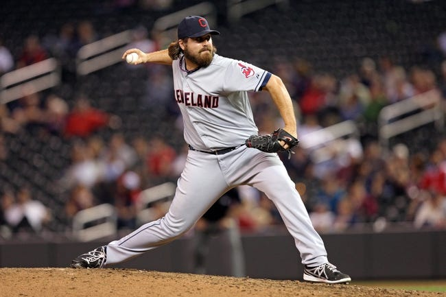 Sep 26, 2013; Minneapolis, MN, USA; Cleveland Indians relief pitcher Chris Perez (54) delivers a pitch in the ninth inning against the Minnesota Twins at Target Field. The Indians won 6-5. Mandatory Credit: Jesse Johnson-USA TODAY Sports