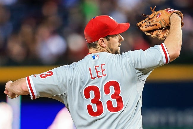 Sep 27, 2013; Atlanta, GA, USA; Philadelphia Phillies starting pitcher Cliff Lee (33) pitches in the first inning against the Atlanta Braves at Turner Field. Mandatory Credit: Daniel Shirey-USA TODAY Sports