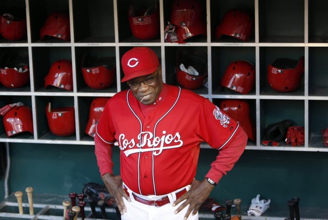 Sep 27, 2013; Cincinnati, OH, USA; Cincinnati Reds manager Dusty Baker stands in the dugout prior to a game with the Pittsburgh Pirates at Great American Ball Park. Mandatory Credit: David Kohl-USA TODAY Sports