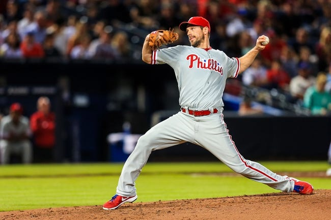 Sep 27, 2013; Atlanta, GA, USA; Philadelphia Phillies starting pitcher Cliff Lee (33) pitches in the second inning against the Atlanta Braves at Turner Field. Mandatory Credit: Daniel Shirey-USA TODAY Sports