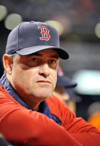 Sep 27, 2013; Baltimore, MD, USA; Boston Red Sox manager John Farrell (53) during a game against the Baltimore Orioles at Oriole Park at Camden Yards. Mandatory Credit: Joy R. Absalon-USA TODAY Sports