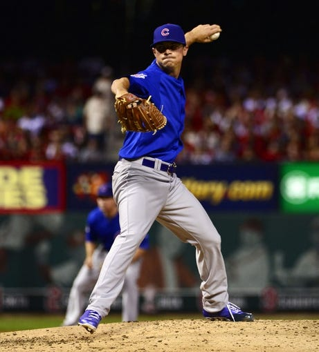 Sep 27, 2013; St. Louis, MO, USA; Chicago Cubs pitcher Brooks Raley (43) delivers a pitch against the St. Louis Cardinals at Busch Stadium. Mandatory Credit: Scott Rovak-USA TODAY Sports