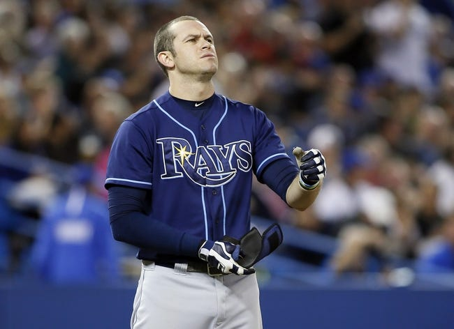 Sep 27, 2013; Toronto, Ontario, CAN; Tampa Bay Rays third baseman Evan Longoria (3) reacts after striking out in the sixth inning against the Toronto Blue Jays at Rogers Centre. Toronto defeated Tampa Bay 6-3. Mandatory Credit: John E. Sokolowski-USA TODAY Sports