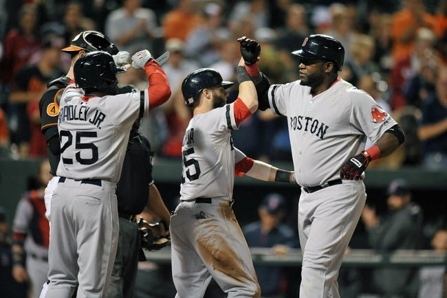 Sep 27, 2013; Baltimore, MD, USA; Boston Red Sox designated hitter David Ortiz (34) is congratulated by Jackie Bradley Jr (25) and Dustin Pedroia (15) after hitting a three-run home run in the eighth inning against the Baltimore Orioles at Oriole Park at Camden Yards. The Red Sox defeated the Orioles 12-3. Mandatory Credit: Joy R. Absalon-USA TODAY Sports