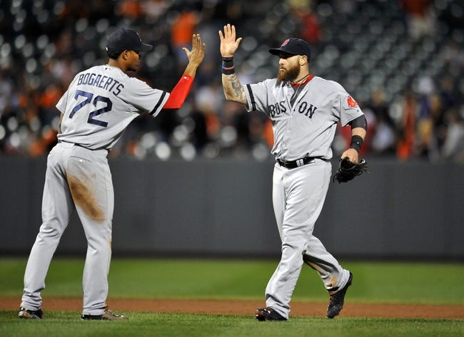 Sep 27, 2013; Baltimore, MD, USA; Boston Red Sox teammates Xander Bogaerts (left) and Jonny Gomes (right) celebrate after a game against the Baltimore Orioles at Oriole Park at Camden Yards. The Red Sox defeated the Orioles 12-3. Mandatory Credit: Joy R. Absalon-USA TODAY Sports