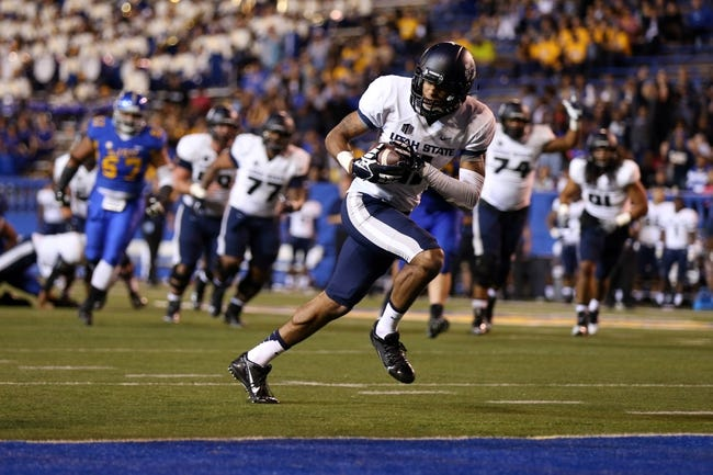 Sep 27, 2013; San Jose, CA, USA; Utah State Aggies wide receiver Brandon Swindall (11) runs in for a touchdown after making a catch against the San Jose State Spartans during the third quarter at Spartan Stadium. The Utah State Aggies defeated the San Jose State Spartans 40-12. Mandatory Credit: Kelley L Cox-USA TODAY Sports