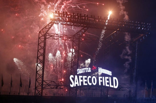 Sep 27, 2013; Seattle, WA, USA; Fireworks explode over the left field stands of Safeco Field concluding fan appreciation night against the Oakland Athletics. Mandatory Credit: Joe Nicholson-USA TODAY Sports