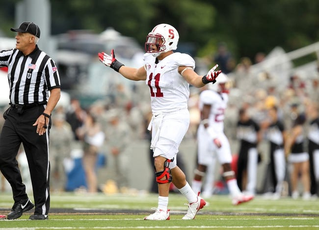 Sep 14, 2013; West Point, NY, USA; Stanford Cardinal linebacker Shane Skov (11) at Michie Stadium. Mandatory Credit: Danny Wild-USA TODAY Sports