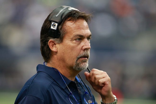 Sep 22, 2013; Arlington, TX, USA; St. Louis Rams head coach Jeff Fisher watches the game against the Dallas Cowboys at AT&T Stadium. The Dallas Cowboys beat the St. Louis Rams 31-7.Mandatory Credit: Tim Heitman-USA TODAY Sports