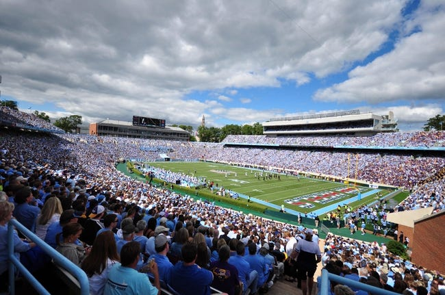 Sep 28, 2013; Chapel Hill, NC, USA; A general view of  Kenan Memorial Stadium during a game between the East Carolina Pirates and North Carolina Tarheels. Mandatory Credit: Rob Kinnan-USA TODAY Sports