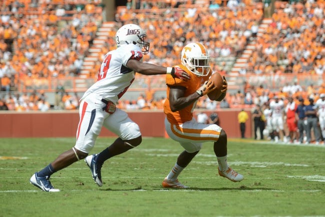 Sep 28, 2013; Knoxville, TN, USA; Tennessee Volunteers wide receiver Alton Howard (2) is pursued by South Alabama Jaguars safety Devon Earl (13) during the second quarter at Neyland Stadium. Mandatory Credit: Randy Sartin-USA TODAY Sports