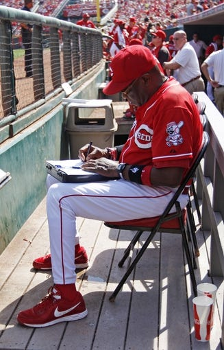 Sep 28, 2013; Cincinnati, OH, USA; Cincinnati Reds manager Dusty Baker (12) in the dugout during the second inning against the Pittsburgh Pirates at Great American Ball Park. Mandatory Credit: Frank Victores-USA TODAY Sports