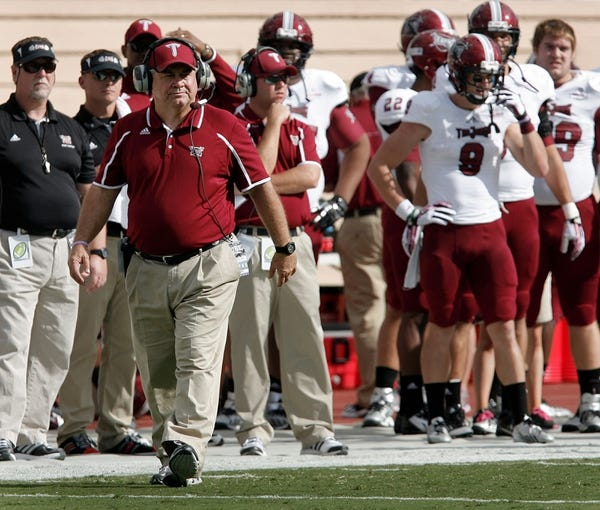 Sep 28, 2013; Durham, NC, USA;  Troy Trojans head coach Larry Blakeney on the sidelines against the Duke Blue Devils at Wallace Wade Stadium. Mandatory Credit: Mark Dolejs-USA TODAY Sports