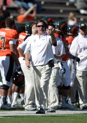 Sep 28, 2013; Fort Collins, CO, USA; Colorado State Rams head coach Jim McElwain reacts during the second quarter of the game against the UTEP Miners at Hughes Stadium. Mandatory Credit: Ron Chenoy-USA TODAY Sports