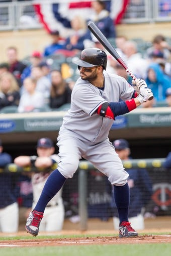 Sep 28, 2013; Minneapolis, MN, USA; Cleveland Indians first baseman Nick Swisher (33) at bat in the first inning against the Minnesota Twins at Target Field. Mandatory Credit: Brad Rempel-USA TODAY SportsThe Cleveland Indians won 5-1.