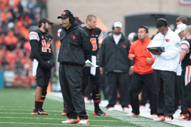 Sep 28, 2013; Corvallis, OR, USA; Oregon State Beavers head coach Mike Riley against the Colorado Buffaloes at Reser Stadium. Mandatory Credit: Scott Olmos-USA TODAY Sports