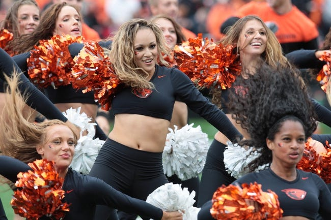 Sep 28, 2013; Corvallis, OR, USA; Oregon State Beavers cheerleaders at halftime against the Colorado Buffaloes at Reser Stadium. Mandatory Credit: Scott Olmos-USA TODAY Sports