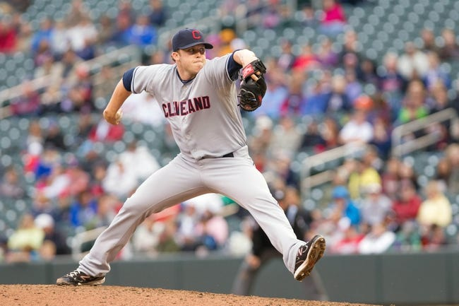 Sep 28, 2013; Minneapolis, MN, USA; Cleveland Indians pitcher Cody Allen (37) throws a pitch in the eighth inning against the Minnesota Twins at Target Field. Mandatory Credit: Brad Rempel-USA TODAY Sports