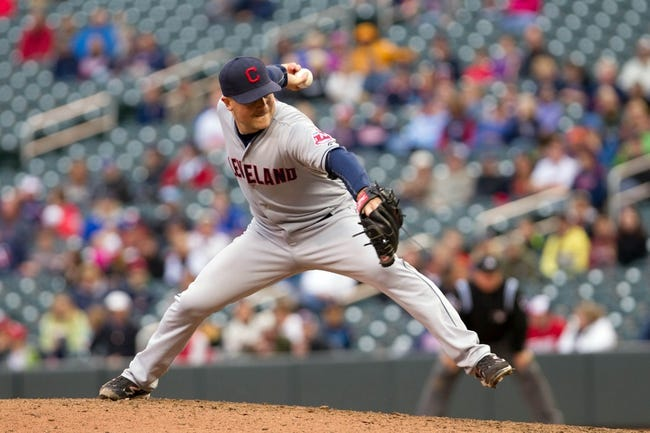 Sep 28, 2013; Minneapolis, MN, USA; Cleveland Indians pitcher Joe Smith (38) throws a pitch in the ninth inning against the Minnesota Twins at Target Field. Mandatory Credit: Brad Rempel-USA TODAY Sports