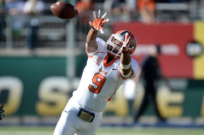 Sep 28, 2013; Fort Collins, CO, USA; UTEP Miners wide receiver Jordan Leslie (9) prepares to pull in a reception against the Colorado State Rams in the fourth quarter at Hughes Stadium. The Rams defeated the Miners 59-42. Mandatory Credit: Ron Chenoy-USA TODAY Sports